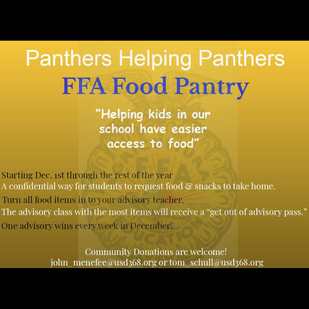 Panthers Helping Panthers - A confidential way for students to request food and snacks to take home.